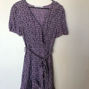 Purple print wrap dress